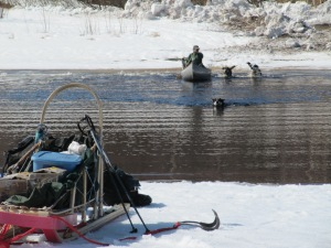 Keta takes the lead as the whole crew heads back for the sled, waiting out on the pack ice.