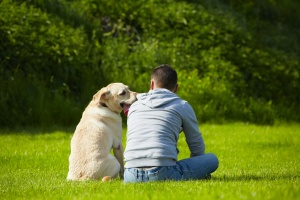 Young man with his dog in a park. Copyright Chalabala - Dollar Photo